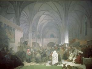 Master Jan Hus (1369-1415) Preaching in the Bethlehem Chapel, from the 'Slav Epic', 1916 by Alphonse Mucha