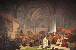 Master Jan Hus Preaching at the Bethlehem Chapel (The Cycle the Slav Epi) by Alphonse Mucha