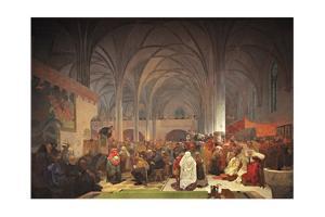 Master Jan Hus Preaching at the Bethlehem Chapel (The Cycle the Slav Epi) by Alphonse Mucha