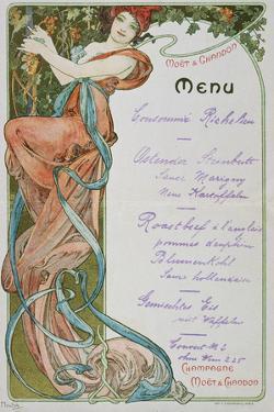 Moet and Chandon Menu, 1899 by Alphonse Mucha