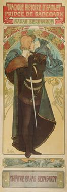 Plakat Fuer &Quot;Hamlet&Quot; Im Theater Sarah Bernhardt, 1899 by Alphonse Mucha