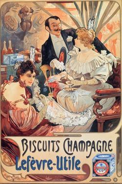 Poster Advertising 'Lefevre-Utile' Champagne Biscuits, 1896 by Alphonse Mucha