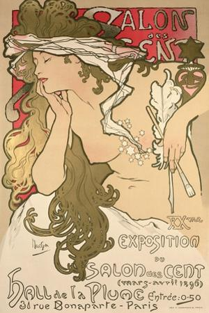 Poster Advertising the Salon Des Cent Exposition at the Hall De La Plume, 1896