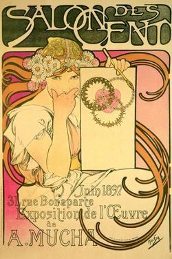 Poster Advertising the 'Salon Des Cent' Mucha Exhibition, 1897 by Alphonse Mucha