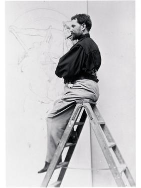 Self-Portrait on Stepladder, Working on the Cartoon of the Poster 'Imprimerie Cassan Fils', 1896 by Alphonse Mucha