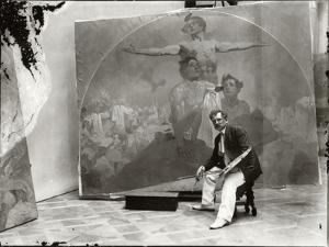 Self Portrait, Working on a Mural for the Lord Mayor's Hall, Obecni Dum, Prague, c.1910 by Alphonse Mucha