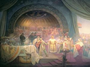 The Bohemian King Premysl Otakar II (D.1278), from the 'Slav Epic', 1924 by Alphonse Mucha