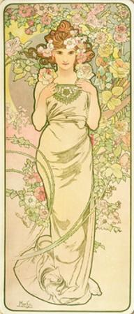 The Flowers: Rose, 1898 by Alphonse Mucha
