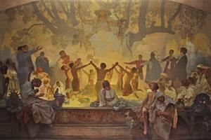 The Oath of Omladina under the Slavic Linden Tree (The Cycle the Slav Epi) by Alphonse Mucha