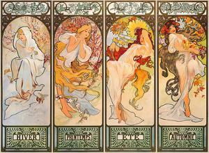 The Seasons (Les Saisons) - Winter, Spring, Summer, Autumn (Hiver, Printemps, Ete, Automne) by Alphonse Mucha