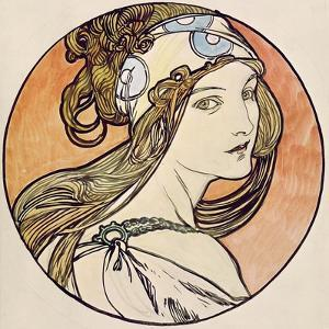 Woman with a Headscarf (W/C on Paper) by Alphonse Mucha
