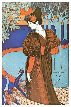 Woman with Peacocks by Alphonse Mucha
