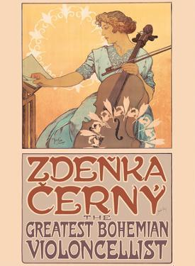 Zdenka Cerný - The Greatest Bohemian Violoncellist by Alphonse Mucha