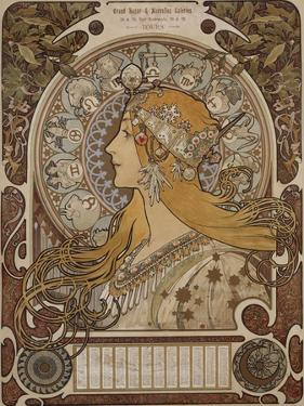 Zodiac, Grand Bazar and Nouvelles Galeries, Tours, 1896 by Alphonse Mucha