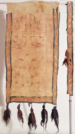Saddle Blanket Covered with Chinese Silk, 5th- 4th Century BC (Wool, Silk, Gold and Leather)