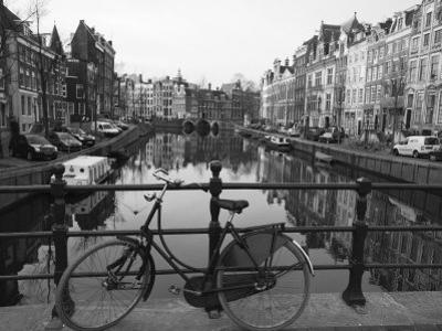 Black and White Imge of an Old Bicycle by the Singel Canal, Amsterdam, Netherlands, Europe by Amanda Hall