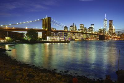 Brooklyn Bridge and Manhattan Skyline at Dusk from Brooklyn Bridge Park by Amanda Hall