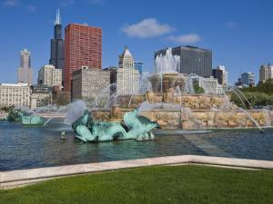 Buckingham Fountain in Grant Park with Sears Tower and Skyline Beyond, Chicago, Illinois, USA by Amanda Hall