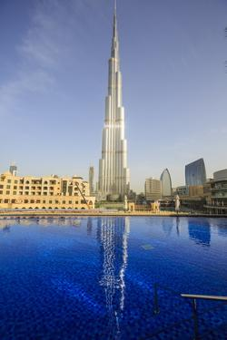 Burj Khalifa Reflected in Hotel Swimming Pool, Dubai, United Arab Emirates, Middle East by Amanda Hall