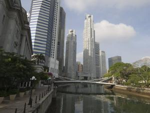 Cavenagh Bridge and the Singapore River Looking Towards the Financial District, Singapore by Amanda Hall