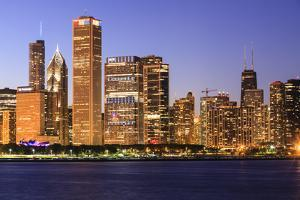 Chicago Cityscape at Dusk Viewed from Lake Michigan, Chicago, Illinois, United States of America by Amanda Hall