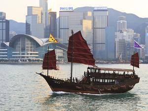 Chinese Junk Boat Sails on Victoria Harbour, Hong Kong, China, Asia by Amanda Hall