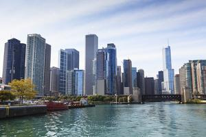 City Skyline from the Chicago River, Chicago, Illinois, United States of America, North America by Amanda Hall