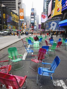Garden Chairs in the Road for the Public to Sit and Relax in the Pedestrian Zone, Times Square by Amanda Hall