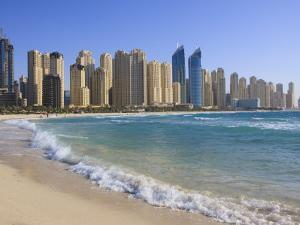Hotel and Apartment Buildings Along the Seafront, Dubai Marina, United Arab Emirates, Middle East by Amanda Hall