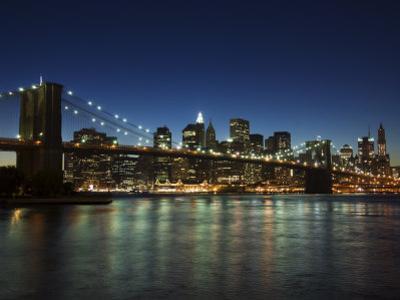 Manhattan Skyline and Brooklyn Bridge at Dusk, New York City, New York, USA by Amanda Hall