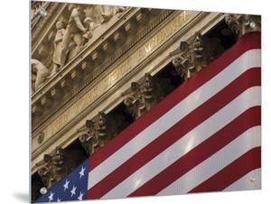New York Stock Exchange and American Flag, Wall Street, Financial District, New York, USA by Amanda Hall