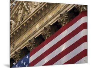New York Stock Exchange and American Flag, Wall Street, Financial District, New York, USA by Amanda Hall