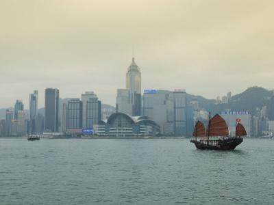 One of the Last Remaining Chinese Junk Boats Sails on Victoria Harbour, Hong Kong, China by Amanda Hall