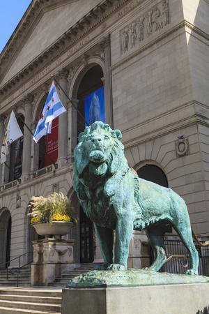 One of Two Bronze Lion Statues Outside the Art Institute of Chicago