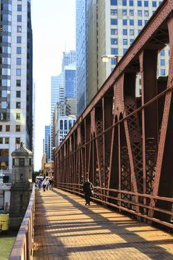 Pedestrians Crossing a Bridge over the Chicago River, Chicago, Illinois, United States of America by Amanda Hall