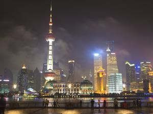 Pudong Skyline at Night across the Huangpu River, Oriental Pearl Tower on Left, Shanghai, China, As by Amanda Hall