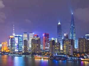 Pudong Skyline at Night across the Huangpu River, Shanghai, China, Asia by Amanda Hall