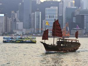 Star Ferry and Chinese Junk Boat on Victoria Harbour, Hong Kong, China, Asia by Amanda Hall