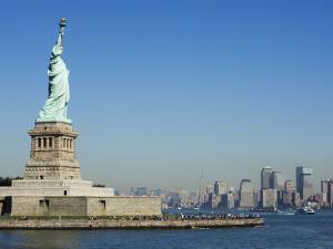 Statue of Liberty, Liberty Island and Manhattan Skyline Beyond, New York City, New York, USA by Amanda Hall