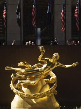 Statue of Prometheus in the Plaza of the Rockefeller Center, Manhattan, New York City, USA by Amanda Hall
