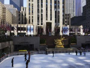 The Rockefeller Center with Famous Ice Rink in the Plaza, Manhattan, New York City, USA by Amanda Hall