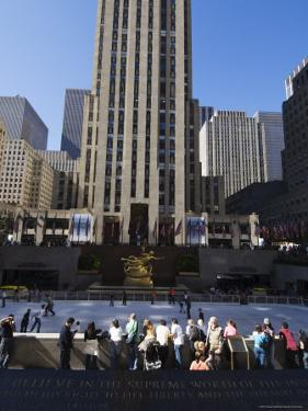 The Rockefeller Center with Ice Rink in the Plaza, Manhattan, New York City, USA by Amanda Hall