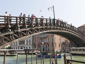The Wooden Accademia Bridge Over the Grand Canal, Venice, UNESCO World Heritage Site, Veneto, Italy by Amanda Hall