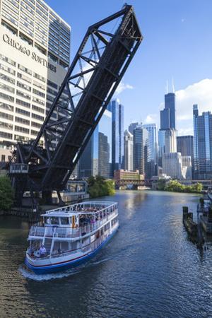Tour Boat Passing under Raised Disused Railway Bridge on Chicago River, Chicago, Illinois, USA by Amanda Hall