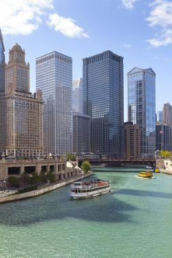 Tourist Boat on Chicago River with Glass Towers Behind on West Wacker Drive, Chicago, Illinois, USA by Amanda Hall