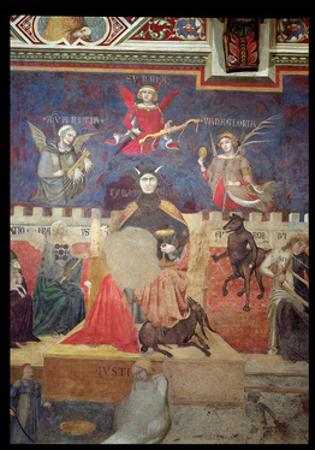 Allegory of Bad Government, Detail of Avarice, Pride, Vanity, Tyranny, Fraud and Anger, 1338-40 by Ambrogio Lorenzetti