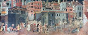 Effects of Good Government on the City Life, (Detail), C1330 by Ambrogio Lorenzetti