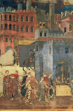 Good Government in the City,1338-40 (Detail of 57868) (Fresco) by Ambrogio Lorenzetti