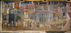 The effects of good government in cities by Ambrogio Lorenzetti