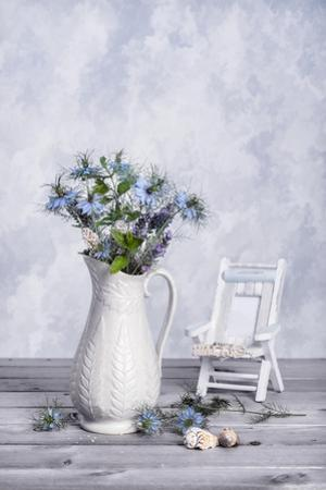 Antique Jug of Cut Cornflowers with Seashells by Amd Images